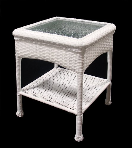 Buy low price whitecraft chatham run wood round 22 patio for Cheap white end tables
