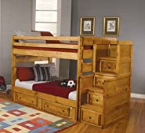 Big Sale Full Size Bunk Bed with Stairway Chest in Amber Wash Finis