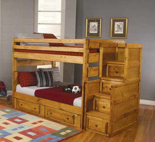 Full Size Bunk Bed with Stairway Chest in Amber Wash Finish
