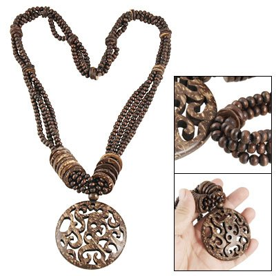 Rosallini Dark Brown Coconut Shell Hollow Out Flower Pendant Necklace