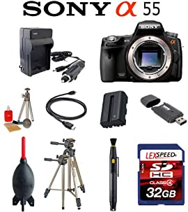 Sony Alpha SLT-A55 16.2 MP Digital SLR Camera Body + Battery + 32GB Card + Tripod + Travel charger + Cleaning Kit