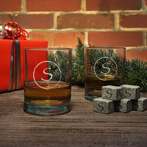 Old Fashioned Personalized Tumbler Gift Set with Monogram Design Options & Choice of Font Selection with Optional Monogrammed 3 oz Shot Glasses and Monogrammed Whiskey Stones