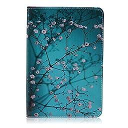 Samsung Galaxy Tab E 9.6 inch SM-T560/T561/T567 Tablet Impact Resistant Case, Folio Stylish Art soft Rubber Hard Plastic Premium PU Flip Kickstand TPU Slim Fit Case with Card/Cash Slots(Plum Blossom)