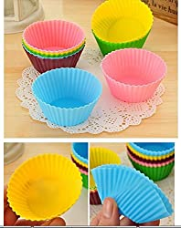 6 Pieces Round Shape Non-stick Silicone Bakeware Baking Cup Cake Molds - Perfect for Cup Cakes, Muffins, Gelatin, Desserts