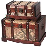 Vintique Wood Old World Map Wooden Trunk/Box, Set of 2