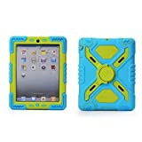Hot Newest Ipad 2/3/4 Case Silicone Plastic Kid Proof Extreme Duty Dual Protective Back Cover with Kickstand and Sticker for Ipad 4/3/2 - Rainproof Sandproof Dust-proof Shockproof(Blue/Green)