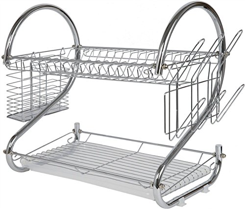 2 Tier Stainless Steel Dish Rack - Space Saver Dish Drainer Drying Rack 22 Inch (6qt Kitchenaid Glass Bowl compare prices)