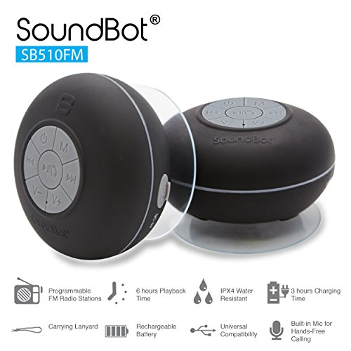 Review SoundBot SB510FM FM RADIO Water Resistant Bluetooth Wireless 5W Shower Speaker HandsFree Port...