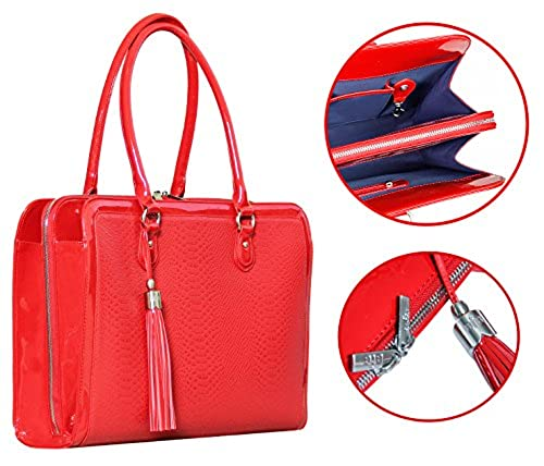 10. BfB 17-Inch Lightweight Laptop Shoulder Bag for Women, Red
