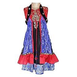 Anjan Traditional A Line Blue Gawn Net Brasso With Inner Santoon Jerdoshi Moti Work