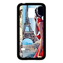 buy Beauty Girl And Eiffel Tower Black Stylish Cover Case & Dust Plug For Samsung Galaxy S5 Mini With High-Quality Plastic