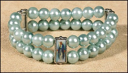 blessed-by-pope-benedict-xvi-light-blue-visions-of-mary-imitation-pearls-bracelet-tri-panel-featurin