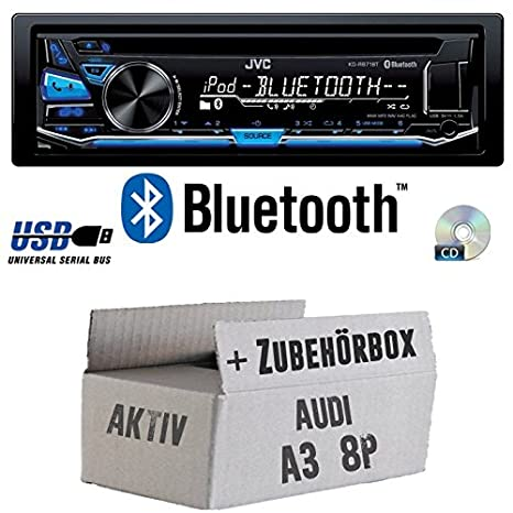 Audi A3 8P AKTIV - JVC KD-R871BT - Bluetooth CD/MP3/USB Autoradio - Einbauset
