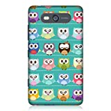 Head Case Designs Green Owl Pattern Kawa Design Back Case for Nokia Lumia 820