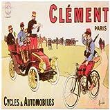 3dRose cst_149757_3 Vintage Clement Paris Cycles and Automobiles Advertising Poster-Ceramic Tile Coasters, Set of 4