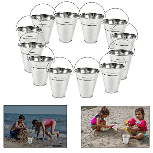 Dazzling Toys Large Galvanized Buckets (Pack of 6) Great Buckets for Planters or Unique Goody Baskets