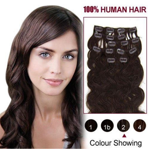 "Hairextensionsale® 20"" 7pcs Wavy Clip in Remy Human Hair Extensions Colors for Your Best Selection Full Head Volume Set[set Weight :110g]"
