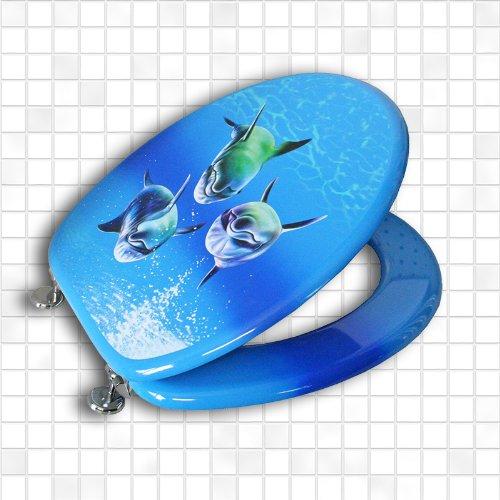 Carpemodo WC Sitz WC Deckel Klodeckel MDF robustem Holzkern Antibakteriell Scharniere verchromt Größe 43x36 cm Farbe Blau Design Delfin