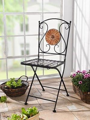 Metall-Klappstuhl Mosaik von Frank Flechtwaren bei Gartenmöbel von Du und Dein Garten