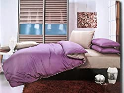 Gloria 100% Cotton 4 Piece Bedding Set- Purple