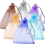手作り風で女子力アップ オーガンジー 小物 プレゼント 用 袋 SilverCoral (10袋 家族用 橙色 10cm*12cm)