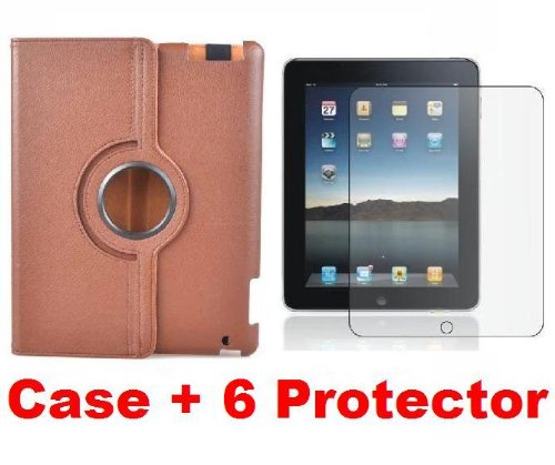 Neewer Rotating Stand Case *Brown* for Apple iPad 2 Smart Cover + 6X Screen Protector and Cleaning Cloth