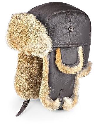 Guide Gear Leather Rabbit Fur Hat, BLACK, LG