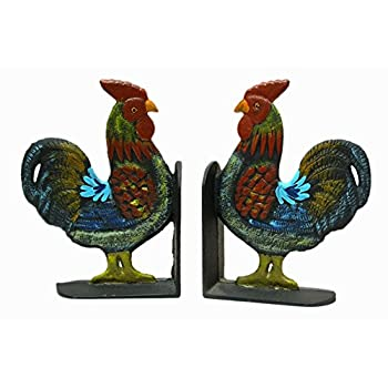 IWGAC 0170S-04408 Cast Iron Rooster Bookends Set by IWGAC
