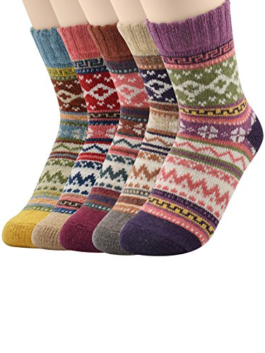 Zando Fashion Lovely Warm Soft Wool Socks Women Christmas Gift 5 Pairs Diamond2 (Crock Lined compare prices)