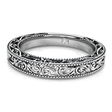 buy 14Kt White Gold Beautiful Floral Vine Engraved Wedding Band