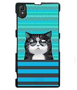 Printvisa 2D Printed Cat Designer back case cover for Sony Xperia Z1 - D4332