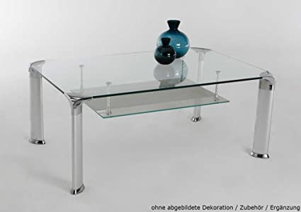 Couchtisch in silber, Klarglasplatte 8 mm, 4-Fuß Metallgestell silber, abhängender Glasboden mit Milchglasstreifen, Maße: B/H/T ca. 109,5/43/69,5 cm