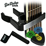 Jim Dunlop Acoustic Guitar Accessories Saver Pack - Trigger Capo, Tortex Picks and Holder, Black String Winder