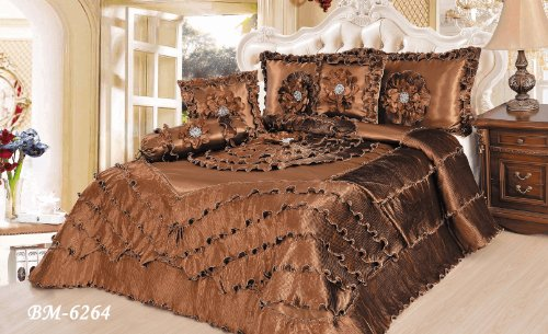 Tache King 6 Piece Fancy Luxurious Chocolate Waterfall Faux Satin Sateen Comforter Quilt Set front-249405