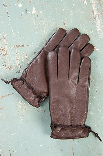 Mens Crazy Horse Buffalo Leather Gloves, Tobacco, Size Medium (8 - 8 1/2)