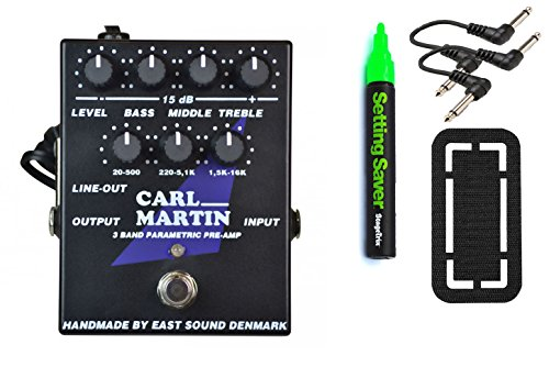 Carl Martin 3 Band Parametric Pre-Amp Pedal Bundle w/ free 4 Items: StageTrix Setting Saver Pen, StageTrix Pedal Fastener, 2x Hosa Patch Cables