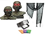 Halloween Animated Interactive Busts with Lighted Eyes, Black Creepy Cloth & Strobe Light Bundle