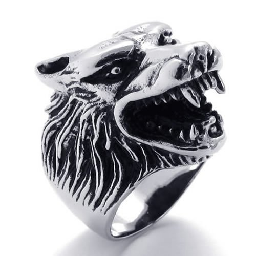 KONOV Jewelry Vintage Biker Men's Wolf Head Stainless Steel Ring - Silver (Available in Sizes 8 - 14) - Size 10