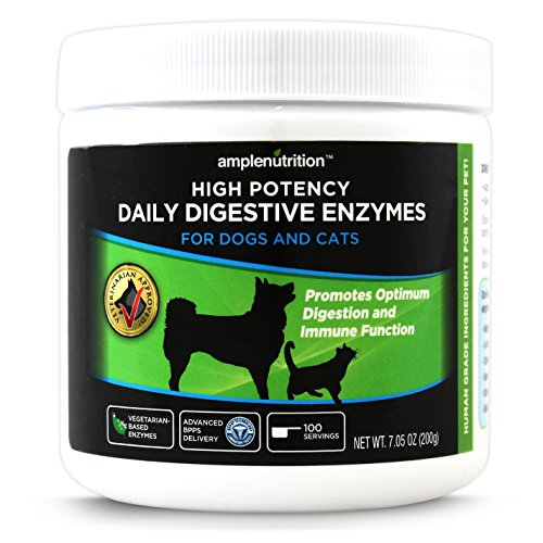 Digestive Enzymes For Pets - Veterinarian Approved - Contains 9 High Potency Enzymes - 100% Vegetarian Based - Scent Free - Powder Enzyme - For Dogs and Cats - 1 Bottle