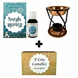 Aromafume Fresh Spring diffuser oil (15ml) + 12 T-Lite candles & Xcellence burner
