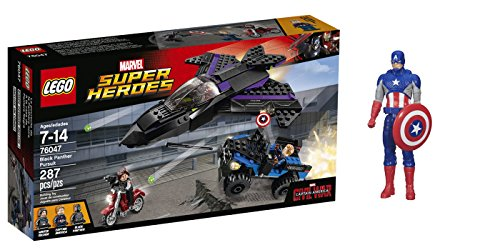 LEGO Super Heroes Black Panther Pursuit 287 Pcs & free Gifts Super Hero Adventures Series Captain America (Colors may vary) Toys (Captain America Super Soldier Wii compare prices)
