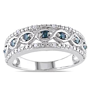 Miadora Sterling Silver 1/4ct TDW Blue and White Diamond Ring (H-I, I2-I3)- Size 8
