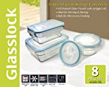 New Snaplock Lid: Tempered Glasslock Storage Containers 8pc set~Microwave & Oven Safe
