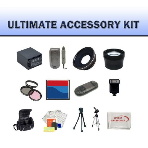 Huge Ultimate Accessory Kit for the Canon XF305 XF300 Camcorder. The Kit Includes Lenses, Filters, 8gb CF Memory Card, Extended Battery, Carrying Case, Tripod, Video Light Plus Much More!!