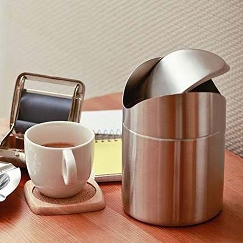 K-Steel Stainless Steel Wave cover Countertop Small trash can Kitchen Desktop Mini Wastebasket (Desktop Trash Can compare prices)