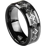 Unique Masonic Ring. Solid Black Ceramic by CERAMIC GESTALT® - 8mm. Comfort Fit.