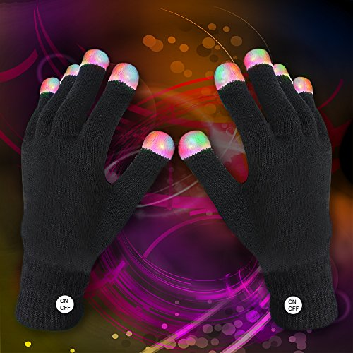 Fun Central R94 LED Light up Rave Gloves The Best Glow in the Dark Raving Gloves - Black