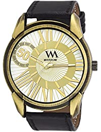 Watch Me White Dial Black Leather Watch For Men And Boys WMAL-207