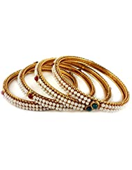 Aradhya Traditional Wedding Gold Plated Pearl Bangle Set For Women And Girls