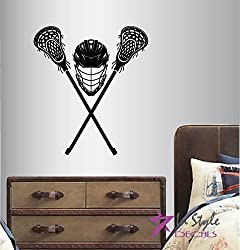 Wall Vinyl Decal Home Decor Art Sticker Lacrosse Helmet Sports Sportsman Boy Man Kids Room Removable Stylish Mural Unique Design